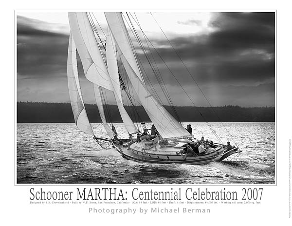 Schooner martha centennial celebration 2007 17x22 limited edition 150 black and white sailing poster